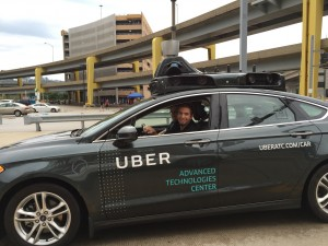 """Not me, but a brave Uber """"driver"""" in a """"driverless"""" car."""